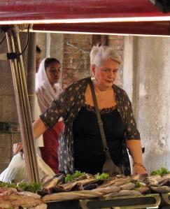 Buyer in Venice's Fish Market