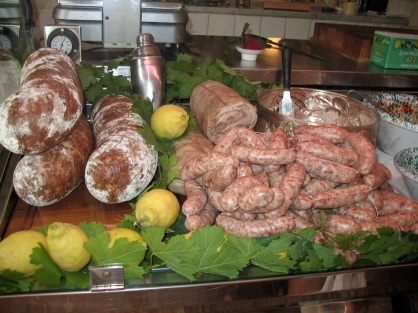 Display of meats in Dario Cecchini's Macelleria