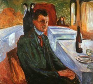 Edward Munch, Self portrait with bottle