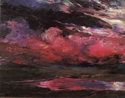 Drifting heavy-weather clouds, oil on plywood, 1928