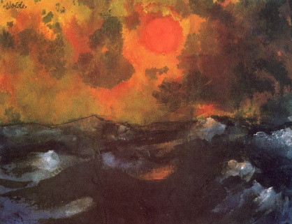 Sea with Red Sun, watercolor on paper, 1938-1945