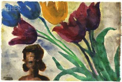 Red, blue and yellow tulips with Bust (1930-35), watercolour