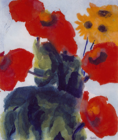 Red Poppy Seed and Coneflower, watercolor on paper, ca 1945