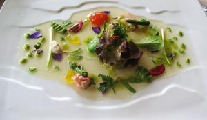 Matrin Berasategui: Warm Salad with seafood, cream of lettuce hearts and juice