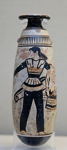 Amazon wearing pants, Attic white-ground alabastron, British Museum, 470 BC