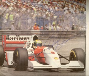 L'Equipe: Senna in Monaco's 1993 race (with Dereck Warrick's autograph)