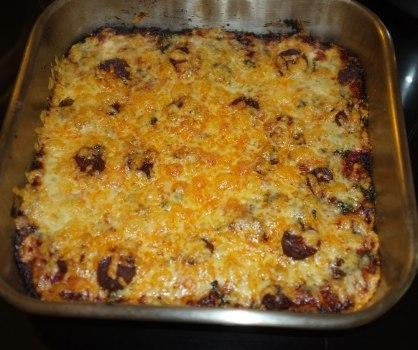 Chorizo and ladotyri pizza baked and ready to serve