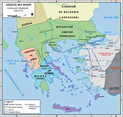 The Catalan Company's itineraries in Anatolia and the Balkans