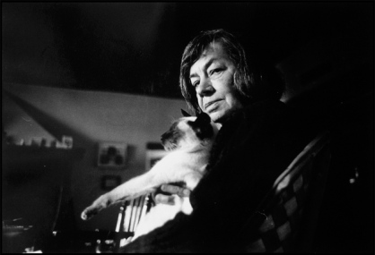 Patricia Highsmith at her house in Aurigeno, Switzerland, April 1984; photograph by Gérard Rondeau