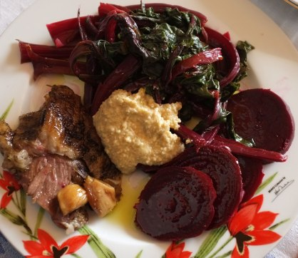 Roast Ewe's Leg, with boiled beetroot, blanched beet leafs, and garlic condiment