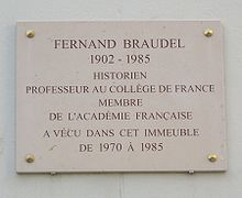 Plaque on Fenrand Braudel's home in Paris