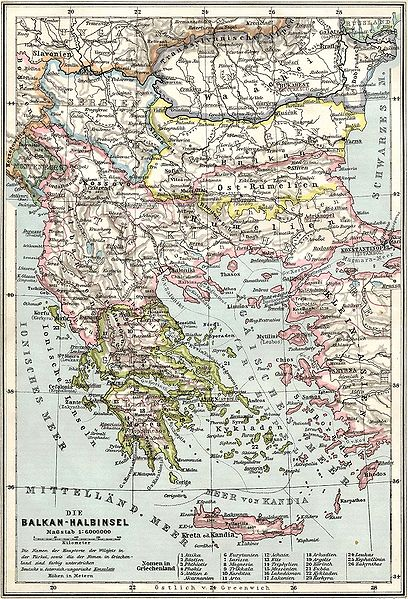 Map of the Balkans at 1905