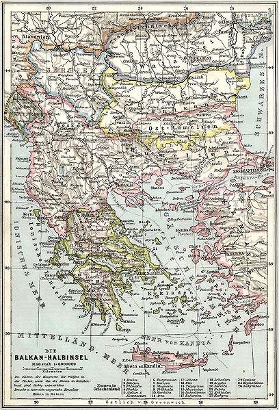 Map of the Balkans at 1905