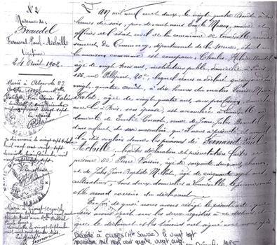 Fernand Braudel's birth certificate