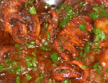Musky octopus in tomato sause