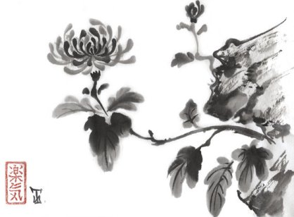 "Original Japanese art ""Chrysanthemum"" - sumi-e drawing - wash ink - painting - Wall decor - from AnimaAllegra - bamboo brash & rice paper"