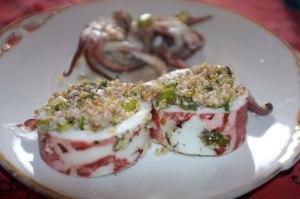 Stuffed squid with bulgur wheat