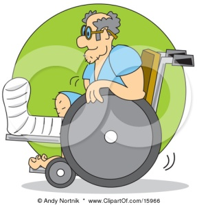 15966-Man-With-His-Leg-In-A-Cast-Using-A-Wheelchair-Poster-Art-Print
