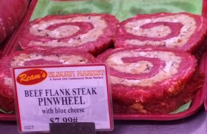 Beef flank steak pinwheel