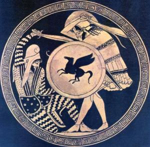 Greek hoplite and Persian warrior fighting each other. Depiction in ancient kylix. 5th c. B.C. National Archaelogical Museum, Athens