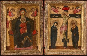 Diptych with the Virgin and Child Enthroned and the Crucifixion, 1275/80, Art Institute of Chicago