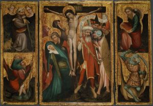 German (Rhenish?), Triptych of the Crucifixion with Saints Anthony, Christopher, James and George, c. 1400, Tempera and oil (estimated) on panel, Art Institute of Chicago