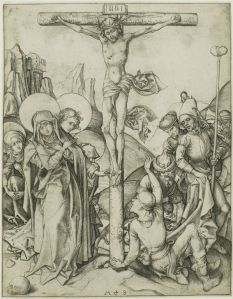 Martin Schongauer, The Crucifixion with the Holy Women, St. John and Roman Soldiers, n.d, Engraving on paper, Art Institute of Chicago