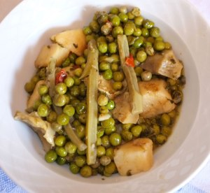 Green peas, potatoes and artichokes - served