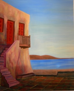 House by the Sea, Paros, Greece, painting by NM