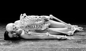 Self portrait with skeleton by Marina Abramovic 2003 Photograph: Marina Abramovic/Sean Kelly Gallery New York