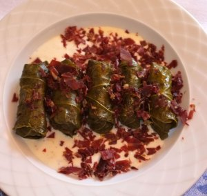 Stuffed vine leafs with spicy yogourt and chopped pastirma