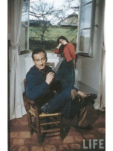 Balthus with Frederique Tison by the window at the Chateau de Chassy
