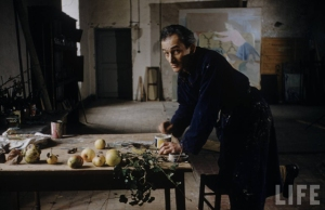 Balthus in his studio at the Chateau de Chassy, 1956