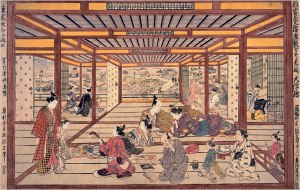 "Large Perspective Picture of a Second-Floor Parlor in the New Yoshiwara, ""Looking Toward the Embankment"" (1745), a hand-colored woodcut by Okumura Masanobu"