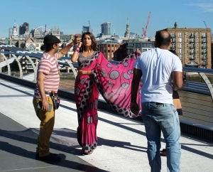 Photo shoot on London's Millennium Bridge