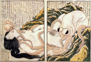 Katsushika Hokusai - Diving Girl with Octopus