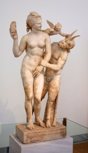 Aphrodite, Pan and Eros; Parian marble  100 BC. National Archaelogical Museum of Athens, Greece.
