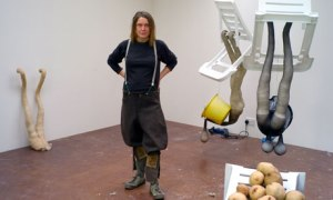 Sarah Lucas in her studio