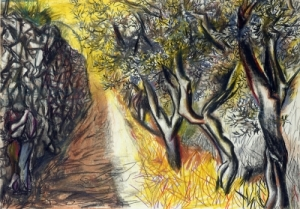 Landscape with Lovers (pastel on paper);Guttuso, Renato ;pastel on paper;600 X 419;Estorick Collection, London