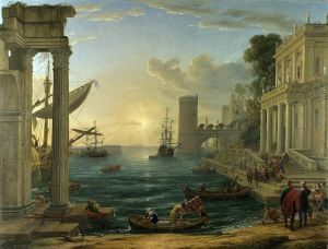 Claude Lorrain; Seaport with the Embarkation of the Queen of Sheba 1648