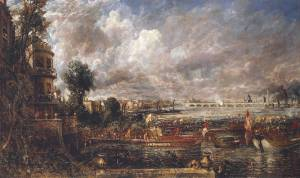 The Opening of Waterloo Bridge ('Whitehall Stairs, June 18th, 1817') exhibited 1832 by John Constable 1776-1837