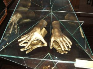 Cast of Arthur Rubinstein's hands; Lodz Museum