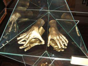 Cast of Arthur Rubinstein's hands; Lodz Museum