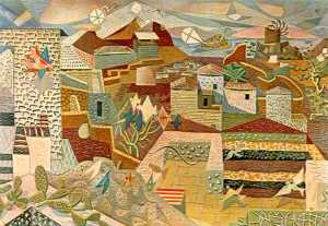 "Hatzikiriakos-Ghikas ""Big Scenery of Hydra"" Oil in canvas,1938"