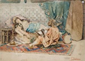 POLIDORI Gian Carlo(1943-), Italy: Οδαλίσκη και Ευνούχος στο χαρέμι