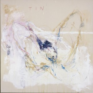 Tracey Emin Ruined (2007) acrylic, oil pastel and pencil on canvas, 72 5/8 x 72 5/8 x 2 1/2, Photograph by Stephen White. Courtesy of White Cube. © the artist