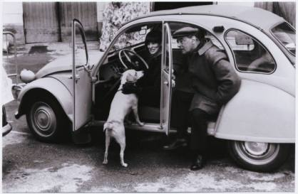 Witold and Rita Gombrowicz with their dog Psina in Vence, France, 1967.