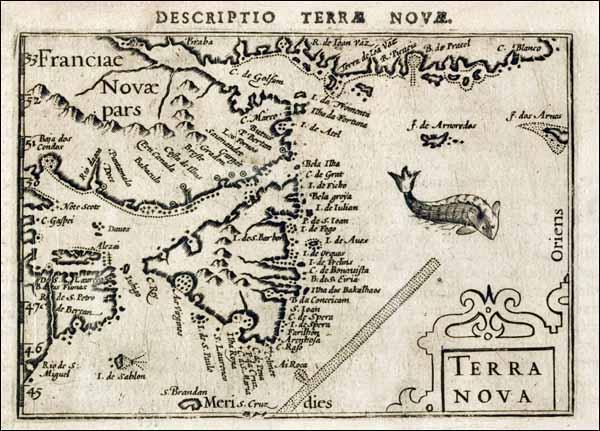 Barent Langenes map of Newfoundland, 1602-1606