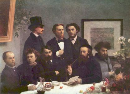 Henri Fantin Latour. Rimbaud is second from the left, Verlaine is first from the left.