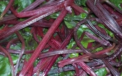 Boiled beetroot leaves